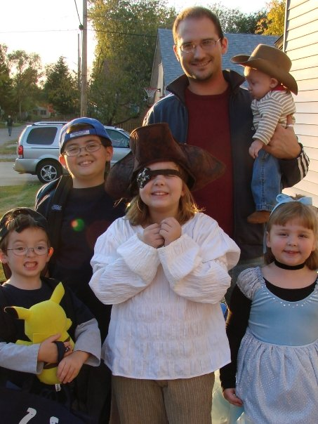NATE TRICK OR TREATING WITH KIDS FROM CHURCH